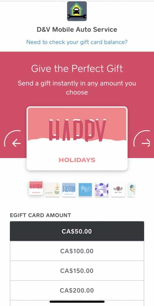 Detailing Gift Card
